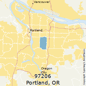 Portland,Oregon(97206) Zip Code Map