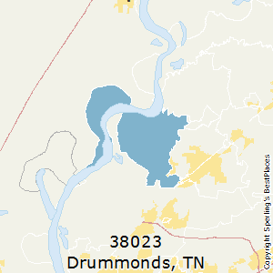 Drummonds,Tennessee County Map