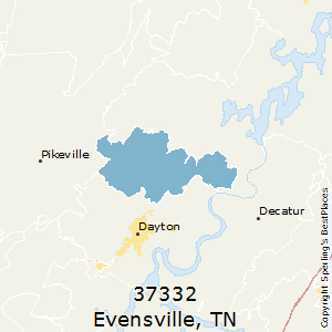 Evensville,Tennessee(37332) Zip Code Map