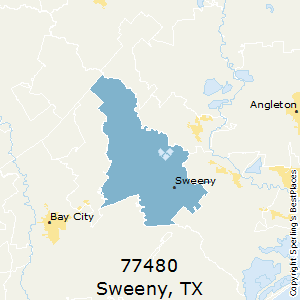 Sweeny,Texas(77480) Zip Code Map