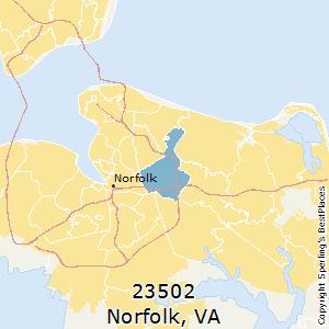 Norfolk,Virginia(23502) Zip Code Map