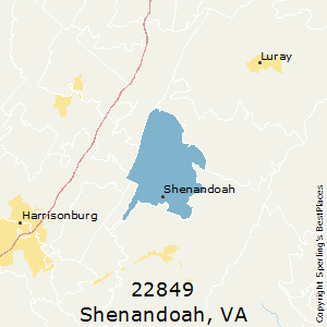 Shenandoah,Virginia County Map