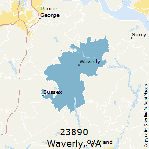 Waverly,Virginia County Map