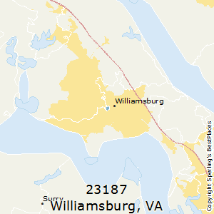 Williamsburg,Virginia County Map