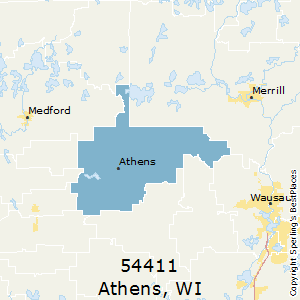 Athens,Wisconsin County Map